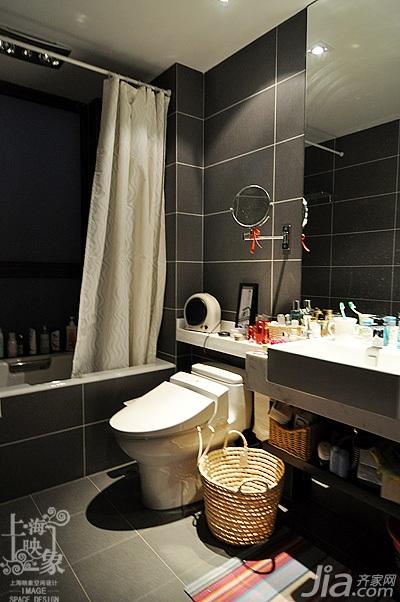 简约风格三居室时尚白色富裕型130平米卫生间浴室柜白领家装图
