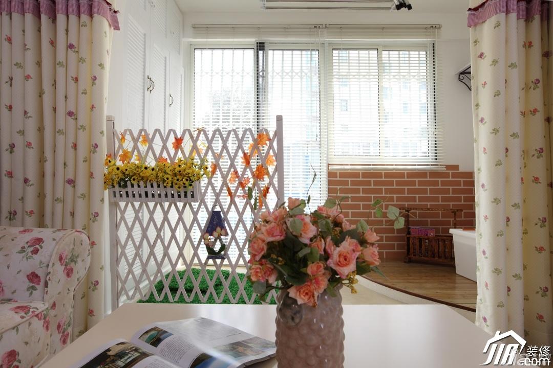 田园风格一居室温馨白色富裕型80平米窗帘效果图