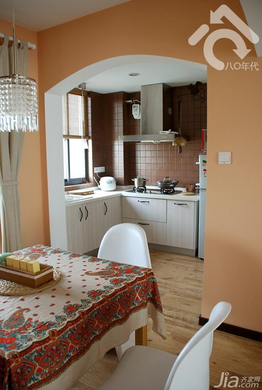 日式风格小户型小清新白色经济型80平米餐厅橱柜设计图纸