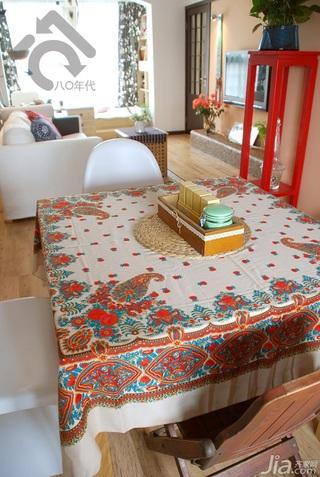 日式风格小户型小清新白色经济型80平米餐厅餐桌效果图