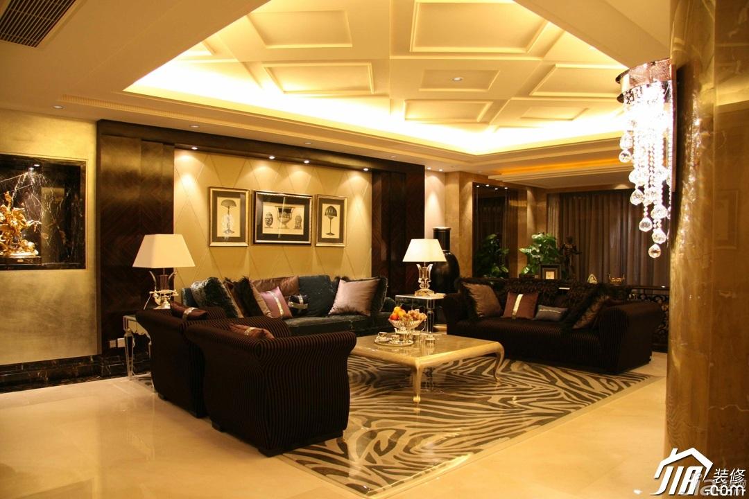 欧式风格别墅豪华型客厅吊顶沙发图片