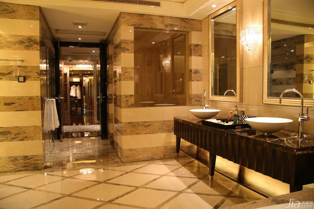 欧式风格别墅奢华豪华型卫生间洗手台效果图
