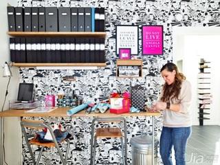 简约风格二居室温馨白色经济型工作区书架效果图