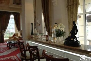 欧式风格别墅奢华白色富裕型客厅吧台窗帘效果图