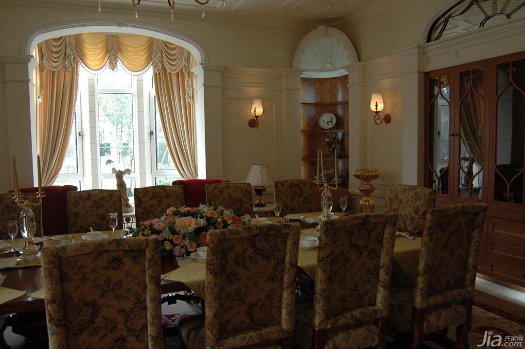 欧式风格别墅奢华白色富裕型餐厅餐桌效果图