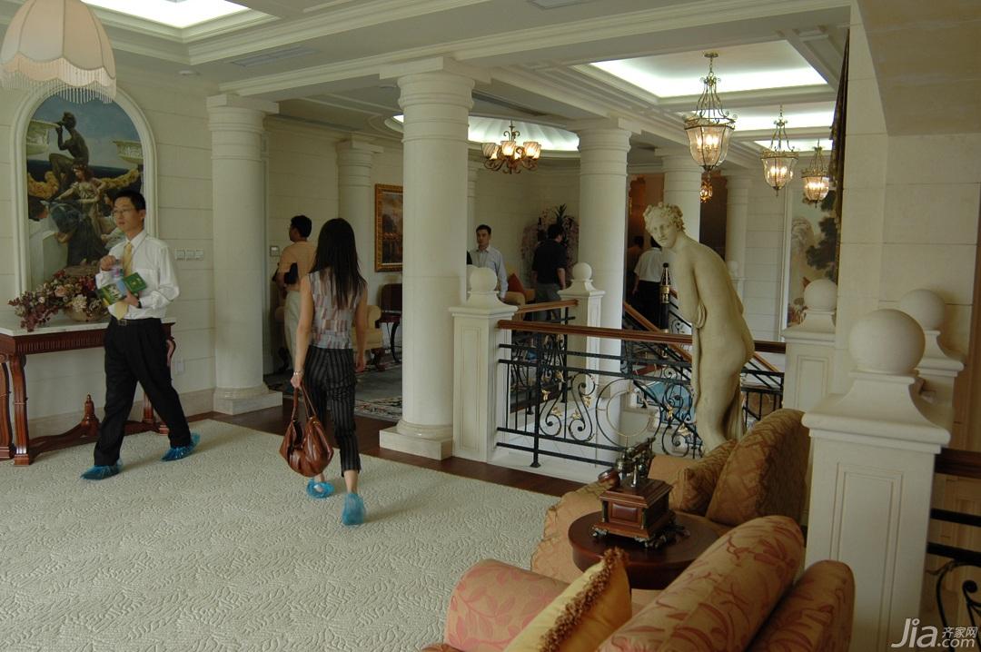 奢华,白色装修,欧式风格,别墅装修,富裕型装修,楼道,罗马柱,沙