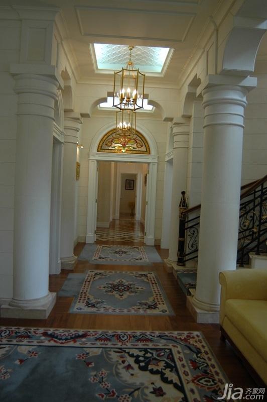 欧式风格别墅奢华白色富裕型门厅过道罗马柱效果图-装修效果图案例