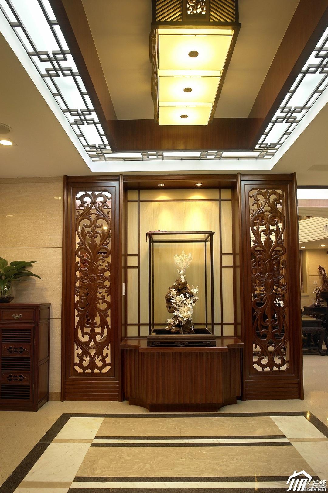 中式风格复式古典原木色豪华型客厅装修效果图