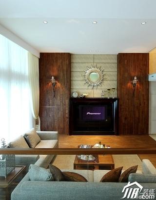 混搭风格别墅稳重褐色豪华型客厅电视背景墙沙发效果图