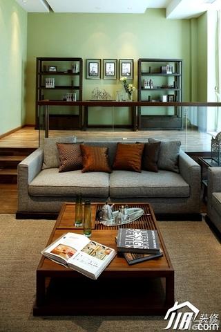 混搭风格别墅稳重褐色豪华型客厅沙发背景墙沙发效果图
