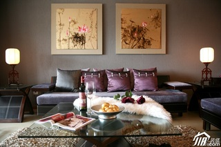 混搭风格公寓稳重褐色豪华型客厅沙发效果图