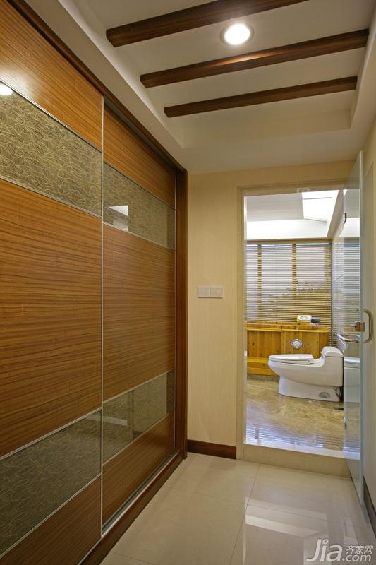 中式风格四房古典米色富裕型卫生间马桶图片
