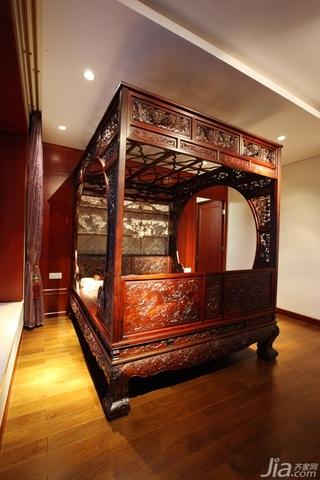 中式风格公寓古典原木色豪华型卧室装潢