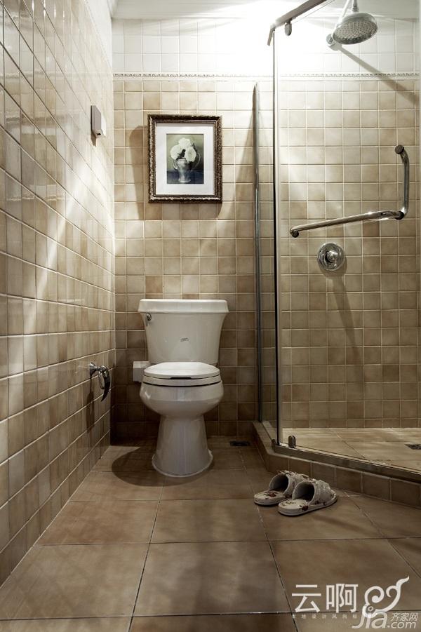 美式乡村风格别墅唯美白色富裕型卫生间淋浴房设计图纸高清图片