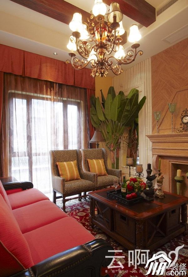 混搭风格别墅奢华红色富裕型沙发效果图