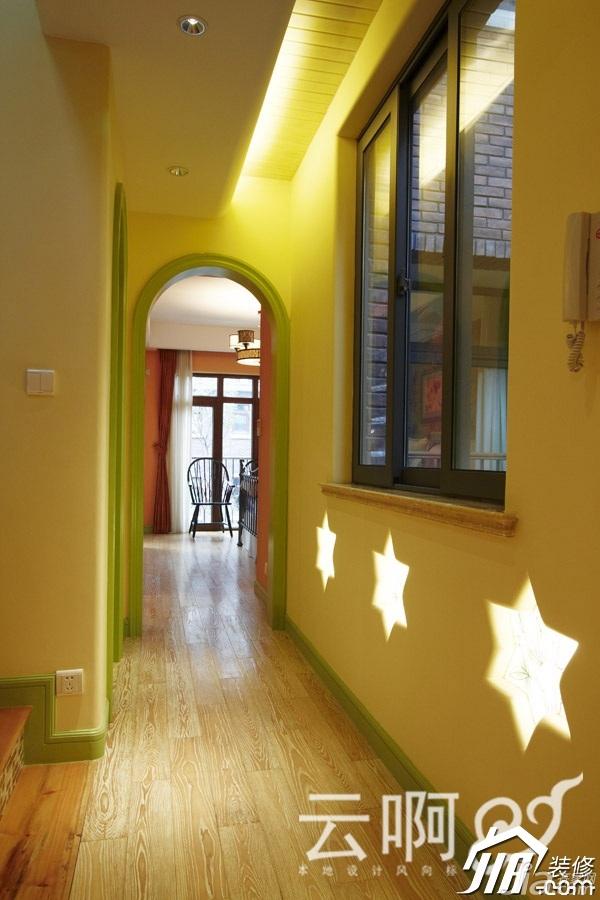 混搭风格别墅奢华红色富裕型过道设计