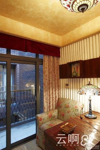 混搭风格别墅奢华红色富裕型书房书桌效果图