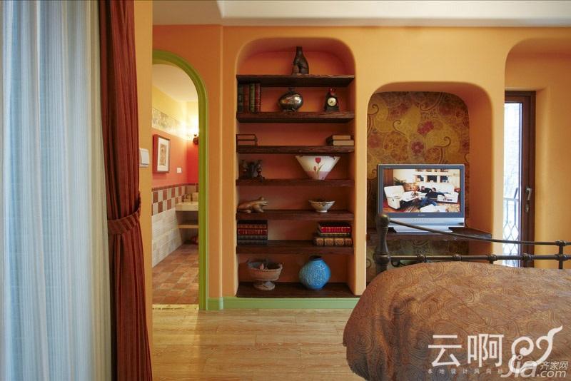 混搭风格别墅奢华红色富裕型客厅过道设计