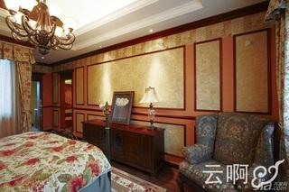 混搭风格别墅奢华红色富裕型卧室卧室背景墙床效果图