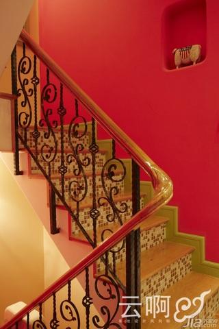 混搭风格别墅奢华红色富裕型楼梯灯具效果图