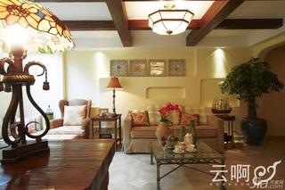 混搭风格别墅奢华红色富裕型客厅沙发效果图