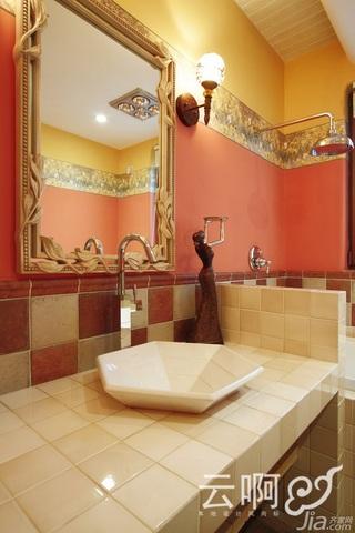 混搭风格别墅奢华红色富裕型卫生间洗手台效果图