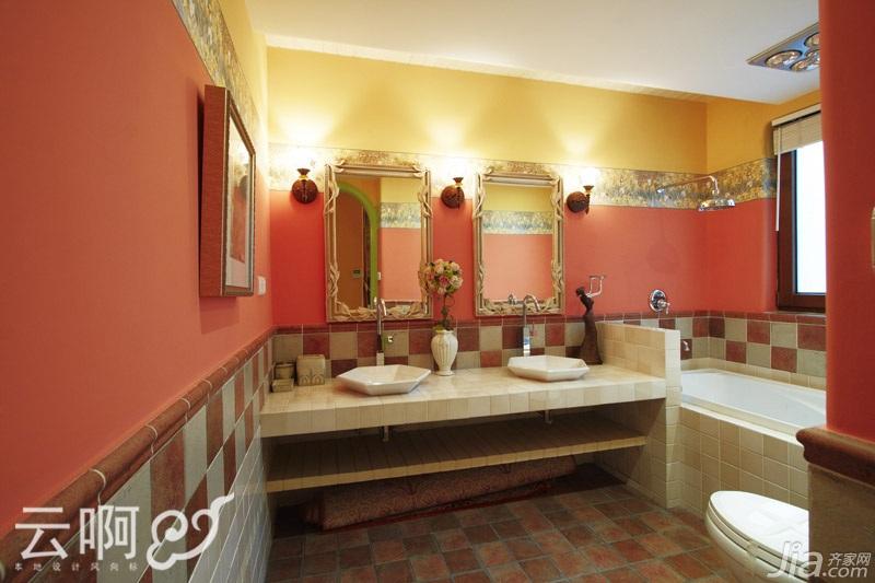混搭风格别墅奢华红色富裕型浴缸效果图