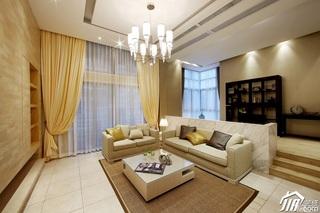 简约风格别墅稳重黄色富裕型客厅电视背景墙沙发图片