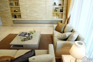 简约风格别墅稳重黄色富裕型客厅沙发效果图
