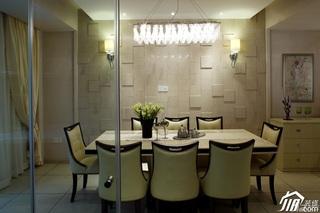 简约风格别墅稳重黄色富裕型餐厅餐桌图片