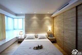 简约风格别墅稳重黄色富裕型卧室飘窗床效果图
