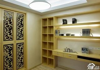 简约风格别墅稳重黄色富裕型书房书桌效果图