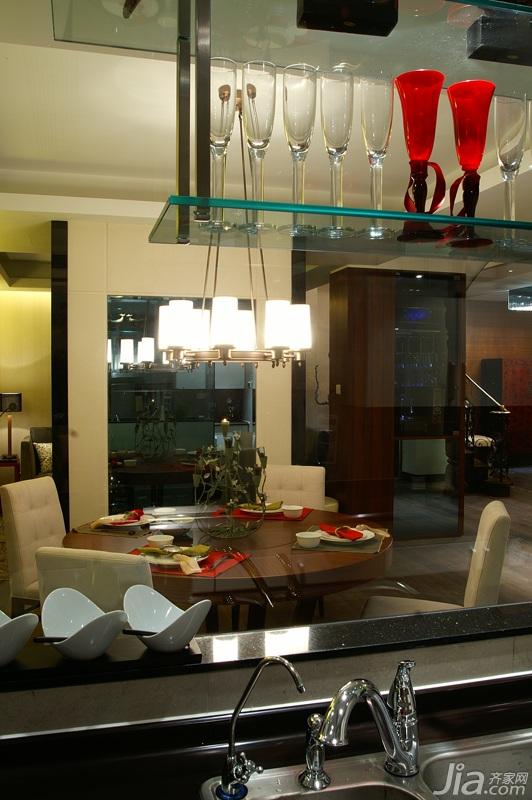 简约风格别墅温馨暖色调豪华型140平米以上餐厅酒柜图片