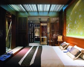 混搭风格别墅古典原木色豪华型140平米以上卧室隔断床效果图