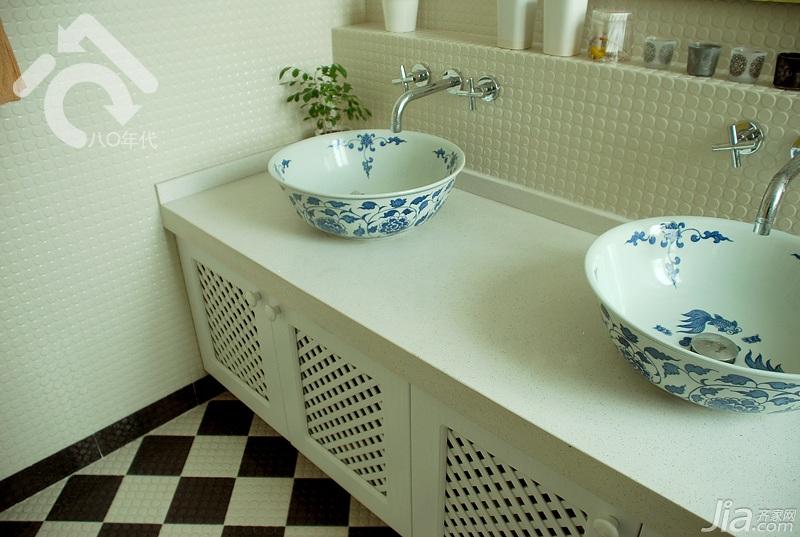 田园风格小户型小清新绿色经济型卫生间洗手台效果图
