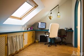 地中海风格别墅温馨暖色调富裕型140平米以上工作区书桌效果图