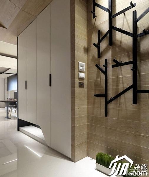 日式风格三居室简洁咖啡色富裕型140平米以上客厅背景墙衣柜设计