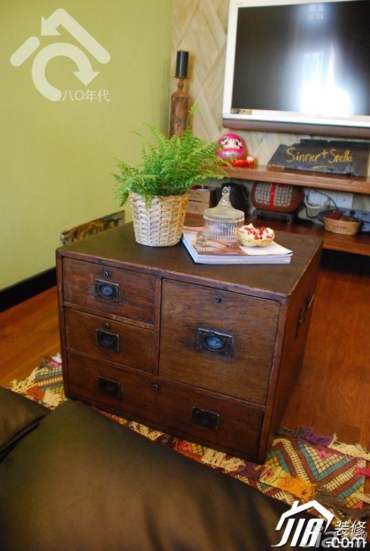 田园风格小户型小清新绿色经济型客厅茶几图片