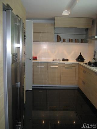 混搭风格别墅实用黄色富裕型厨房橱柜设计图