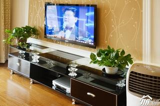 二居室时尚白色富裕型客厅电视背景墙电视柜效果图