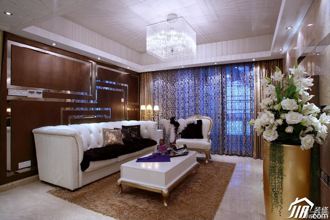 现金炸金花:欧式风格别墅古典米色豪华型140平米以上客厅沙发背景墙图片