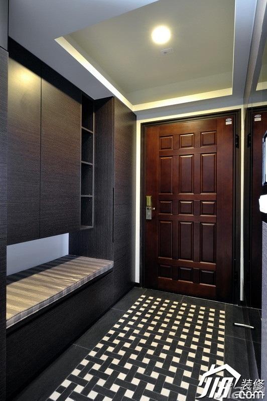 中式风格公寓富裕型90平米玄关设计图纸