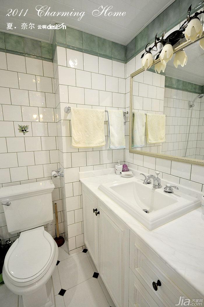 公寓小清新白色富裕型130平米卫生间浴室柜效果图