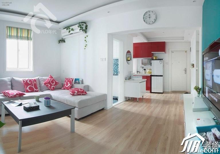 简约风格小户型可爱白色经济型70平米客厅沙发图片