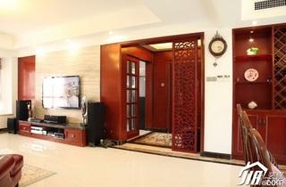 混搭风格公寓豪华型120平米玄关隔断电视柜效果图