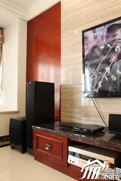 混搭风格公寓豪华型120平米电视背景墙电视柜图片