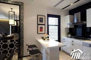 简约风格公寓简洁白色豪华型厨房吧台吧台椅效果图