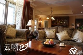 美式乡村风格三居室大气富裕型客厅沙发效果图