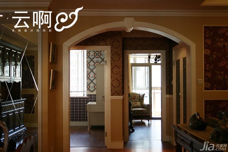 美式乡村风格三居室艺术富裕型走廊装修图片