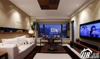 中式风格二居室温馨米色富裕型客厅沙发效果图